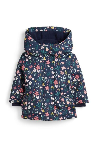 Marineblaue Jacke mit Blumenmuster für Babys (M)