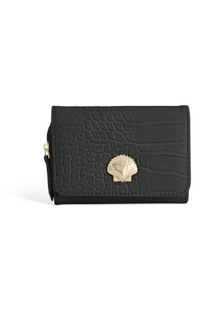 Porte-monnaie noir à coquillage