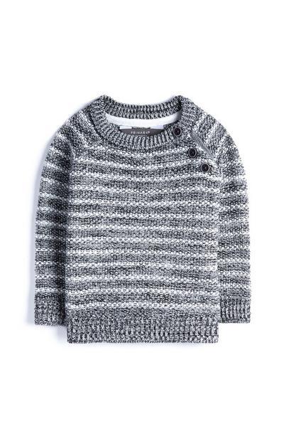 Črtast fantovski pleten pulover za dojenčke