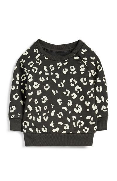 Sweat à imprimé léopard bébé fille