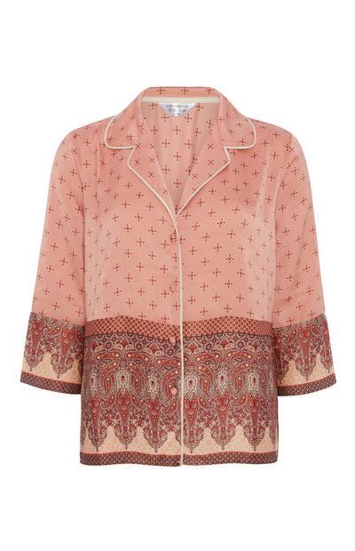 Haut de pyjama en satin avec bordure à motif