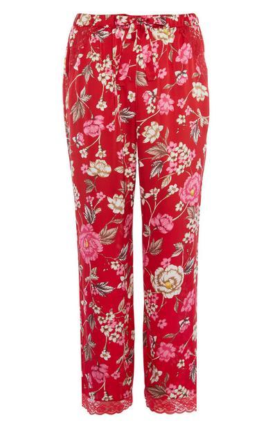 Calças pijama padrão floral vermelho