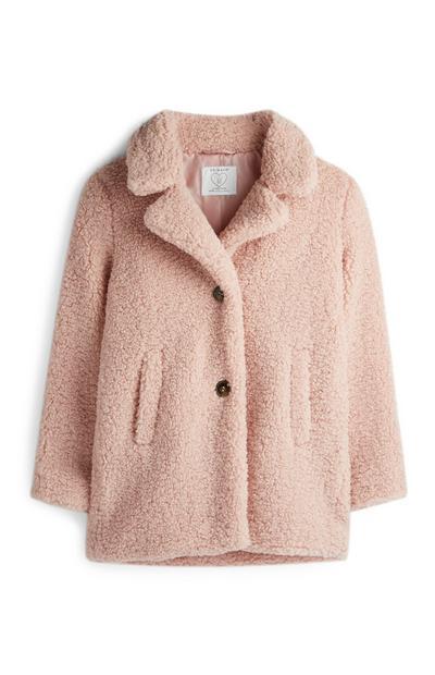 Older Girl Pink Teddy Coat