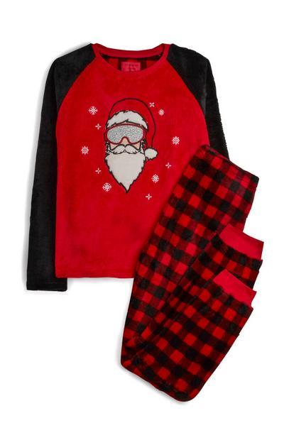 Pyjama en sherpa rouge Père Noël à carreaux ado