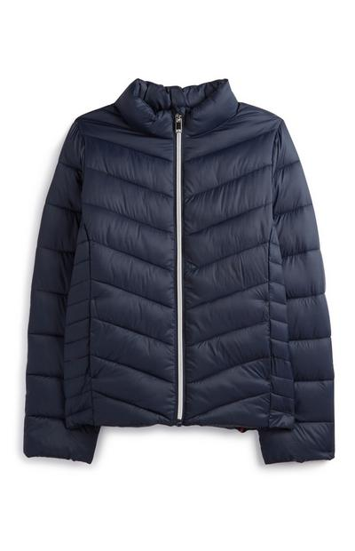 Older Girl Navy Puffer Coat