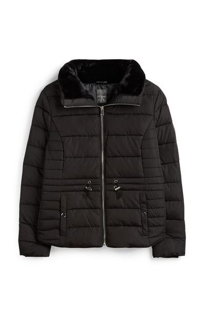 Zwarte jas met bontkraag