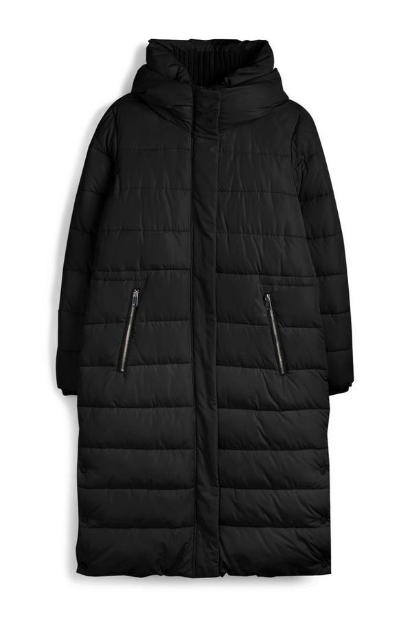 Lange zwarte jas met gebreide kraag