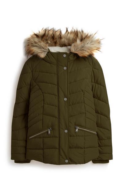 Older Girl Khaki Padded Coat