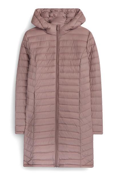 Casaco super leve comprido rosa-pálido