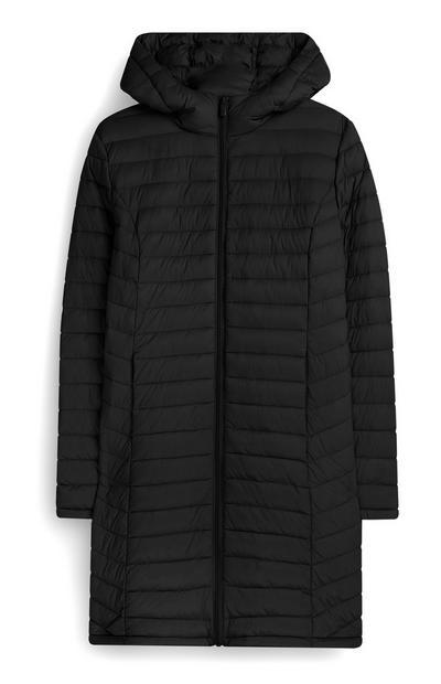 Lange zwarte, superlichte jas