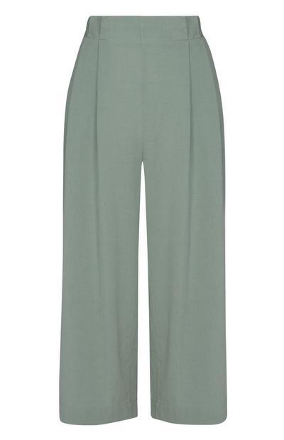 Falda pantalón verde de lino