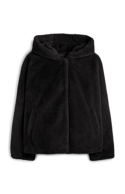 Schwarze Kapuzenjacke aus flauschigem Fleece
