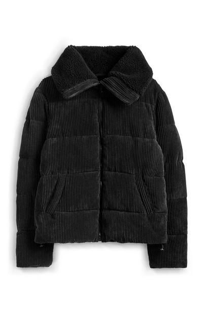 Witte corduroy jas van borgstof