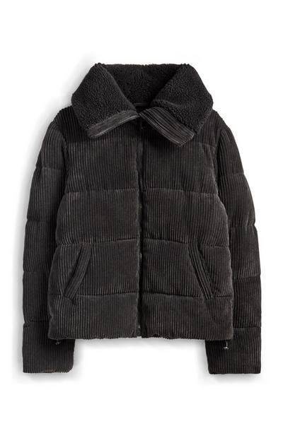 Gray Fleece Corduroy Jacket
