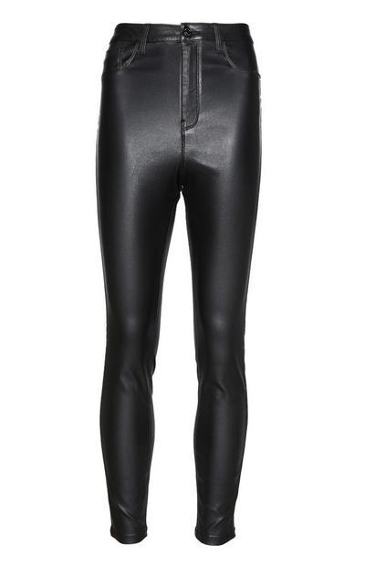Pantalon taille haute en similicuir