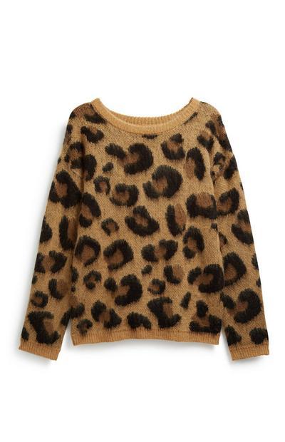 Camisola padrão leopardo rapariga