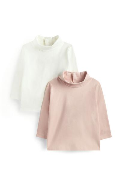 Baby Girl Roll Neck Jumpers 2Pk