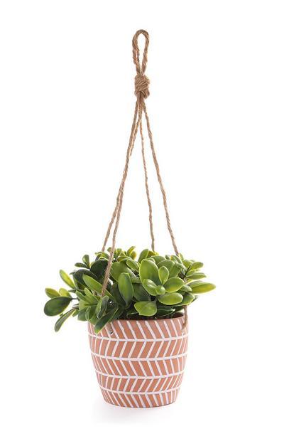 Planta artificial colgante con maceta