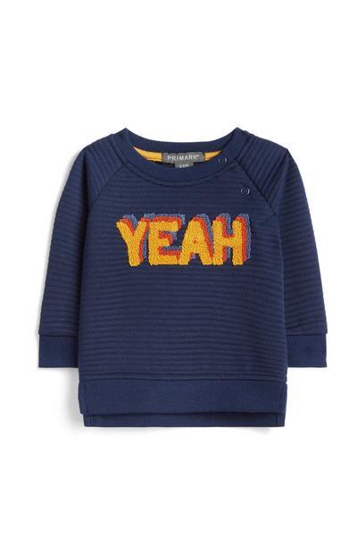 Marineblauer Pullover mit Slogan für Babys (J)