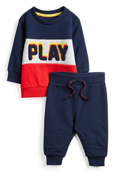 Marineblaues Outfit für Babys (J), 2-teilig
