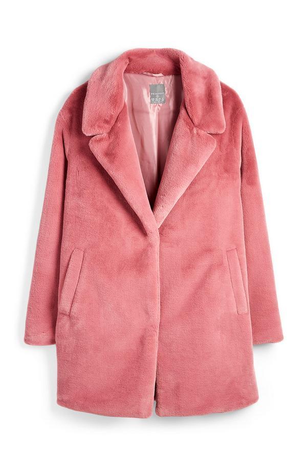 Roze jas van imitatiebont