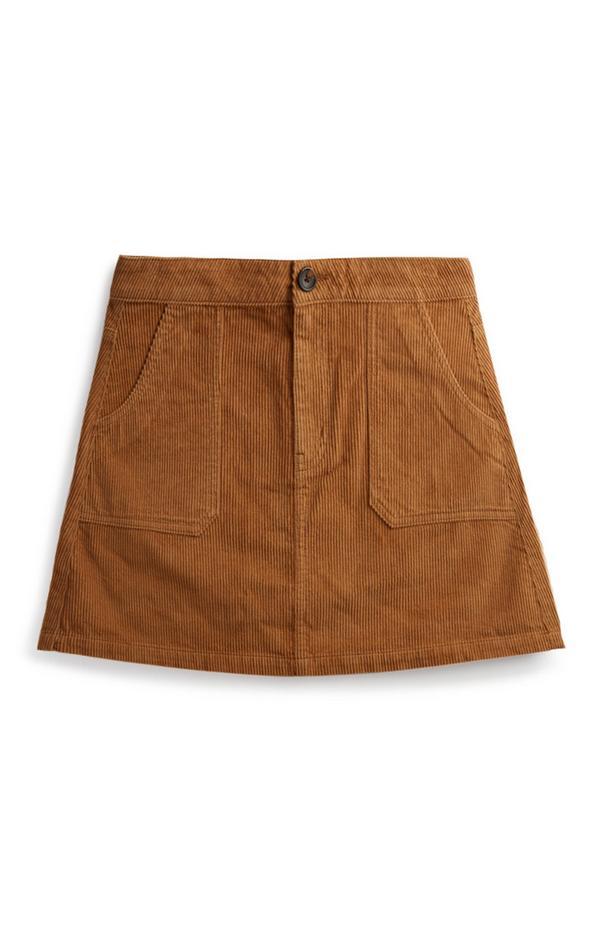 Bruine corduroy rok