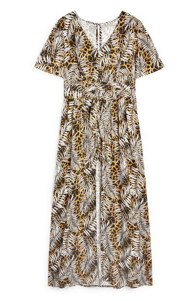 Maxi-jurk met palmbladprint