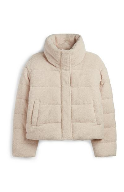 Crèmekleurige jas met borgvoering