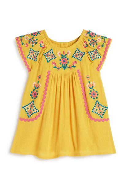 Robe moutarde à fleurs bébé fille
