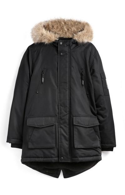 Older Boy Black Parka Coat