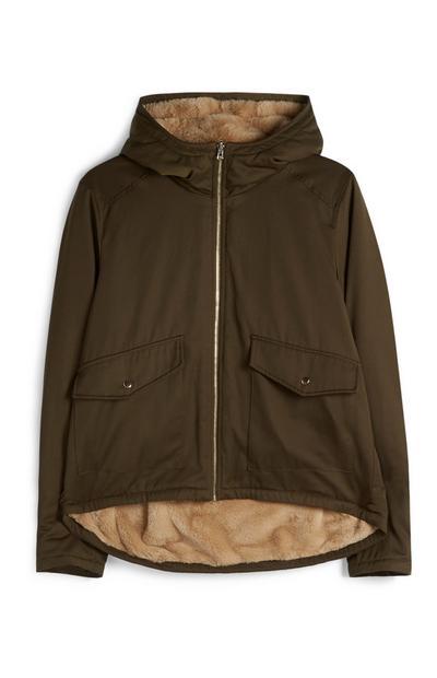 Olive Reversible Faux Fur Jacket