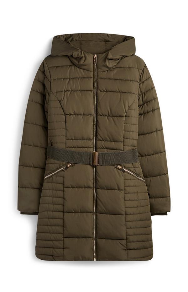 Manteau matelassé kaki à ceinture