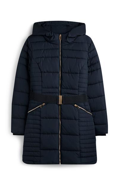 Donkerblauw gewatteerd jack met riem
