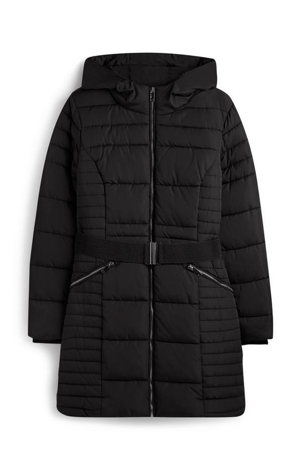 Gevoerde zwarte jas met riem
