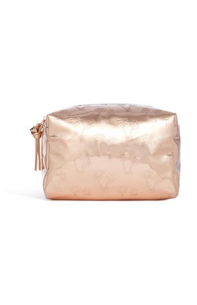 Gold Palm Tree Makeup Bag