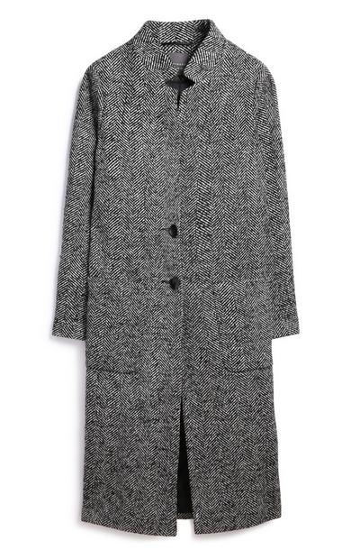 Black/White Longline Coat