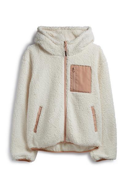Forro polar color crema con capucha