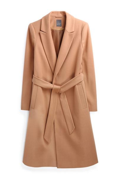 Wrap Tan Belted Coat
