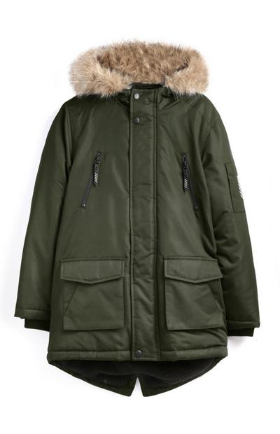 Older Boy Khaki Parka Coat