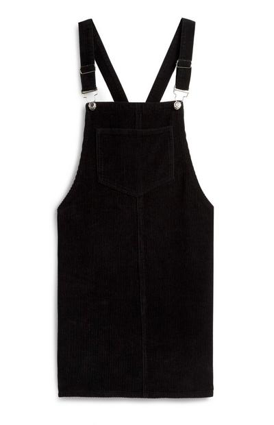 Black Corduroy Overall Dress