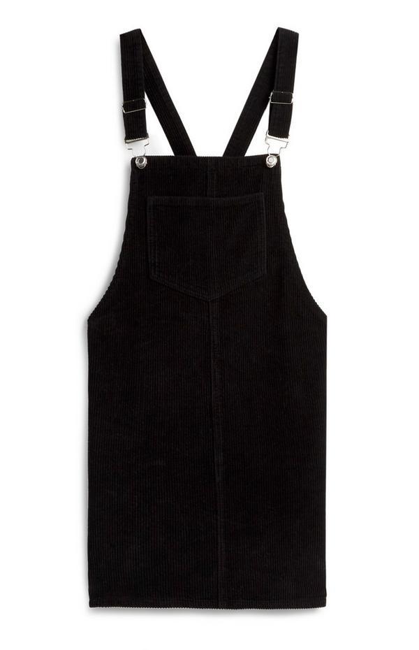 Robe chasuble noire en velours côtelé