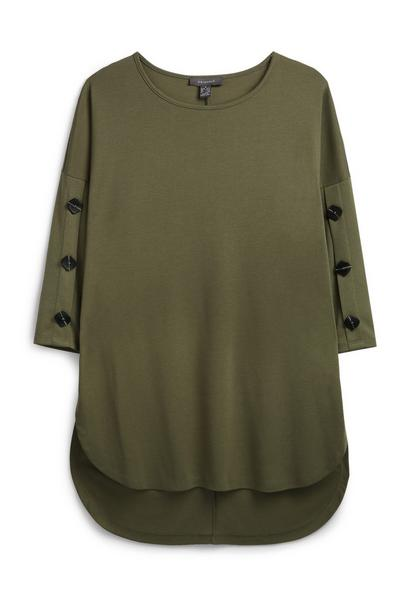Khaki Button Sleeve Jumper