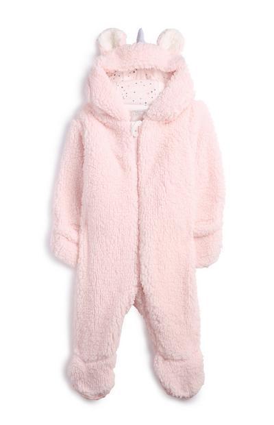 Macacão dormir unicórnio recém-nascida cor-de-rosa