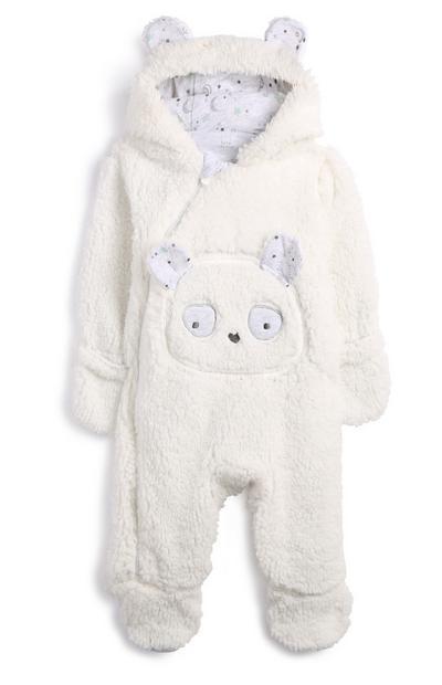 Weißer Kuschelanzug mit Pandamotiv für Neugeborene