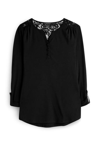 Chemise noire à dos en dentelle