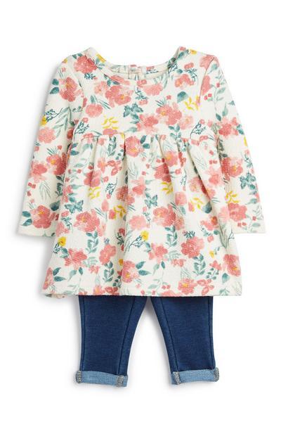 Conjunto 2 peças padrão floral menina bebé