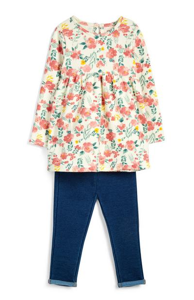 Baby Girl Floral T-Shirt And Jeggings