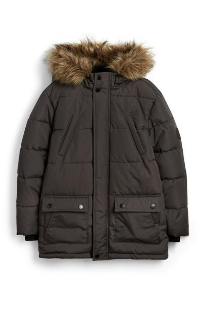 Older Boy Gray Puffer Jacket
