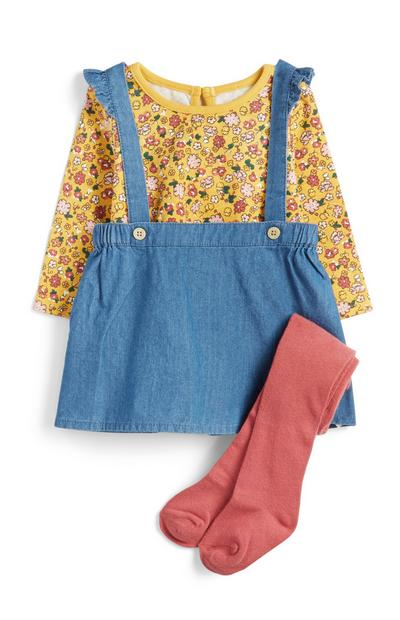 Baby Girl 3-Piece Overall Dress Set