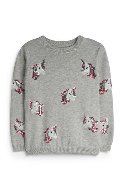 Younger Girl Grey Unicorn Jumper